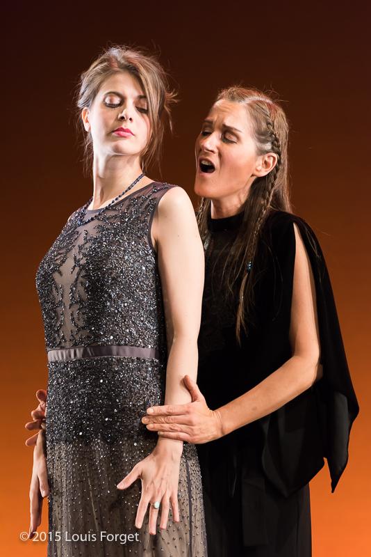(L. to R.) Mezzo-soprano Anna Reinhold and soprano Marguerite Krull in  Opera Lafayette's production of Vivaldi's Catone in Utica