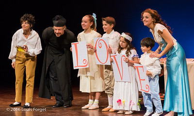 Chabrier-4415 - (L. to R.) Soprano Amel Brahim-Djelloul, baritone Dominique Côté, child actors Sofia Brunetti, Franco Cabanas,  Bella Deocares Brandenburg and Sami Sidi-Boumedine, and soprano Sophie Junker in Opera Lafayette's production of Chabrier's Une Éducation Manquée
