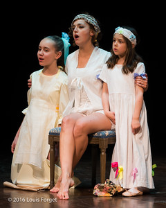 Chabrier-4154 - Soprano Sophie Junker (center) and child actors Sofia Brunetti (l.) and Bella Deocares Brandenburg (r.) in Opera Lafayette's production of Chabrier's Une Éducation Manquée