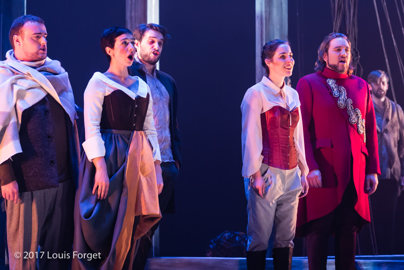 (L. to r.) Tenor Keven Geddes, soprano Pascale Beaudin, tenor Jean-MIchel Richer, soprano Kimy Mc Laren and bass-baritone Alexandre Sylvestre in rehearsal of Opera Lafayette's production of Léonore, ou L'Amour conjugal by Pierre Gaveaux