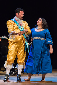 (L. to r.) Tenor Robert Getchel and soprano Sherezade Penthaki in rehearsal of Opera Lafayette's semi-staged presentation of Rameau's Les Indes Galantes (Part IV)