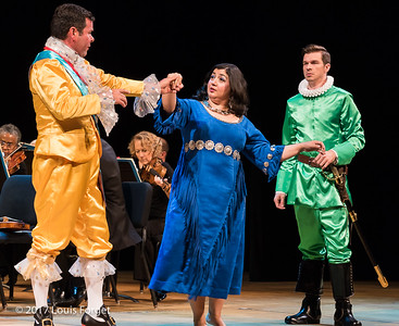 (L. to r.) Tenor Robert Getchel, soprano Sherezade Penthaki and bass-baritone André Courville in rehearsal of Opera Lafayette's semi-staged presentation of Rameau's Les Indes Galantes (Part IV)