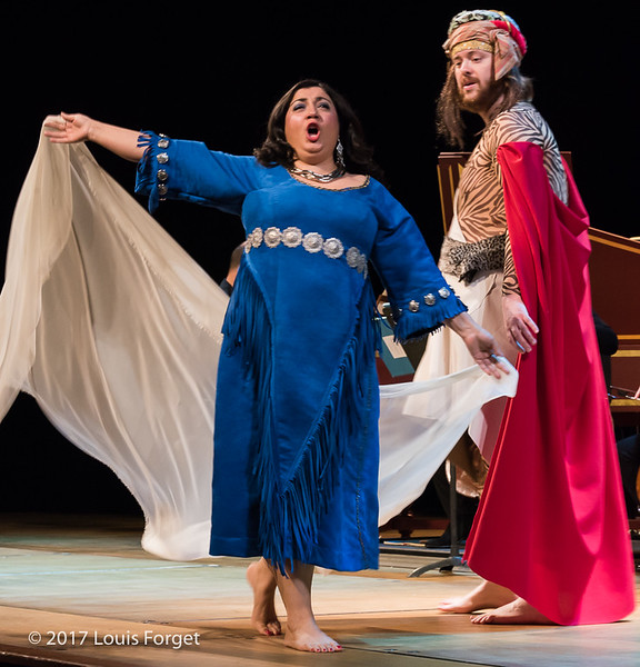 (L. to r.) Soprano Sherezade Penthaki and baritone Victor Sicard in rehearsal of Opera Lafayette's semi-staged presentation of Rameau's Les Indes Galantes (Part IV)