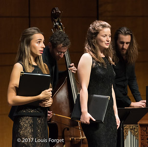 "(L. to r.) Mezzo-soprano Lea Desandre and soprano Liv Redpath with musicians, led by guest musical director Thomas Dunford (archlute) in rehearsal of Opera Lafayette's production ""An Evening of Monteverdi"""