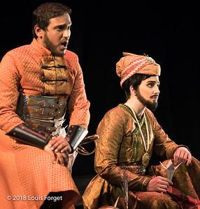 (L. to r.) Tenor Asitha Tennekoon and mezzo soprano Allegra de Viat in rehearsal of Opera Lafayette's production of Erminia by Alessandro Scarlatti