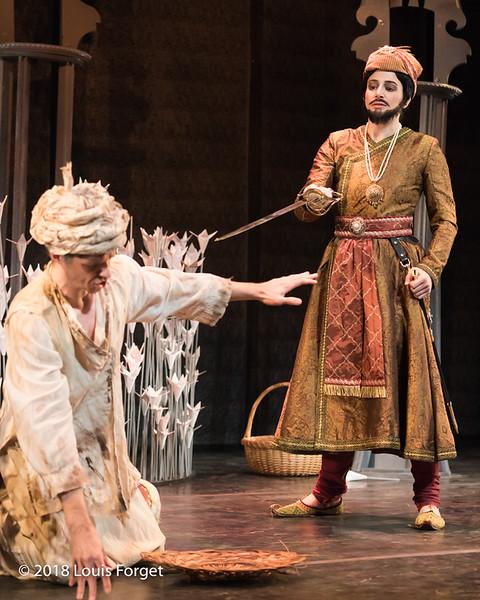 (L. to r.) Bass-baritone André Courville and mezzo soprano Allegra de Vita in rehearsal of Opera Lafayette's production of Erminia by Alessandro Scarlatti