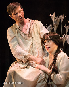 (L. to r.) Bass-baritone André Courville and soprano Julia Dawson in rehearsal of Opera Lafayette's production of Erminia by Alessandro Scarlatti