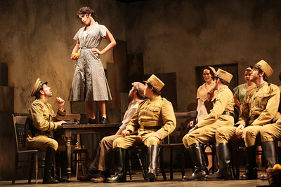 Ginger Costa-Jackson in the title role with members of the ensemble in The Glimmerglass Festival's 2011 production of Bizet's Carmen. Photo: Julieta Cervantes.