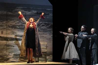 L to R: Patricia Schuman as Carlotta Monterey, Stephanie Foley Davis as Mary McCarthy, Aleksy Bogdanov as Bernard DeVoto and Carin Gilfry as Louis Kronenberger in The Glimmerglass Festival's world-premiere production of A Blizzard On Marblehead Neck. Photo: William M. Brown.