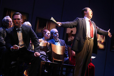 Andrew Stenson (right) as Jimmy O'Keefe with members of the cast in The Glimmerglass Festival's production of Later the Same Evening. Photo: Julieta Cervantes.