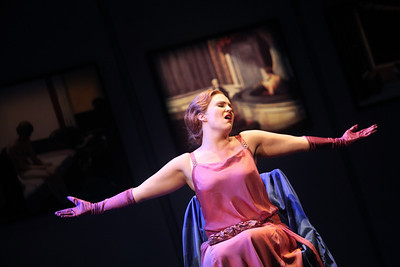 Lacy Sauter as Valentina Scarcella in The Glimmerglass Festival's production of Later the Same Evening. Photo: Julieta Cervantes.