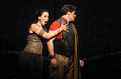 Alexandra Deshorties in the title role and Jeffrey Gwaltney in The Glimmerglass Festival's 2011 production of Medea. Photo: Julieta Cervantes.