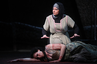 Alexandra Deshorties as Medea with Young Artist Sarah Larsen as Neris in The Glimmerglass Festival's 2011 production of Cherubini's Medea. Photo: Julieta Cervantes.