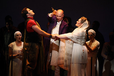 L to R: Jeffrey Gwaltney as Jason, David Pittsinger as King Creon and Jessica Stavros as Glauce in The Glimmerglass Festival's 2011 production of Medea. Photo: Julieta Cervantes.