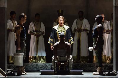 Joseph Barron as Ramfis and Noah Stewart as Radamès (center) in The Glimmerglass Festival's production of Aida. Photo: Karli Cadel/The Glimmerglass Festival.