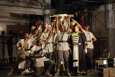 Noah Stewart (center) as Radamès with members of the ensemble in The Glimmerglass Festival's production of Aida. Photo: Karli Cadel/The Glimmerglass Festival.