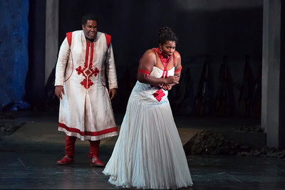 Michelle Johnson as Aida and Eric Owens as Amonasro in The Glimmerglass Festival production of Aida. Photo: Karli Cadel/The Glimmerglass Festival.