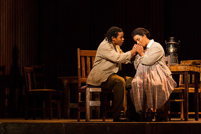 Makudupanyane Senaoana as Absalom and Brandy Lynn Hawkins as Irina in The Glimmerglass Festival's production of Kurt Weill and Maxwell Anderson's Lost in the Stars. Photo: Karli Cadel/The Glimmerglass Festival.