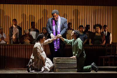 L to R: Brandy Lynn Hawkins as Irina, Eric Owens as Stephen Kumalo and Makudupanyane Senaoana as Absalom in The Glimmerglass Festival's production of Kurt Weill and Maxwell Anderson's Lost in the Stars. Photo: Karli Cadel/The Glimmerglass Festival.