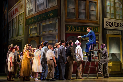 Dwayne Croft as Harold Hill with members of the ensemble in The Glimmerglass Festival's production of The Music Man. Photo: Karli Cadel/The Glimmerglass Festival.