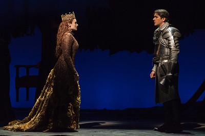 Andriana Chuchman as Guenevere and Nathan Gunn as Lancelot in The Glimmerglass Festival's 2013 production of Camelot. Photo: Karli Cadel/The Glimmerglass Festival.