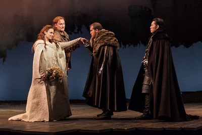 L to R: Andriana Chuchman, David Pittsinger as King Arthur, Clay Hilley as Sir Dinaden and Wayne Hu as Sir Sagramore in The Glimmerglass Festival's 2013 production of Camelot. Photo: Karli Cadel/The Glimmerglass Festival.