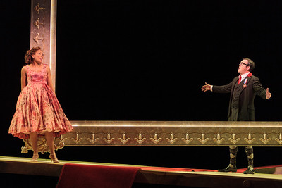Jacqueline Echols in Giulietta and Patrick O'Halloran as Edoardo in The Glimmerglass Festival's 2013 production of Verdi's King for a Day. Photo: Karli Cadel/The Glimmerglass Festival.