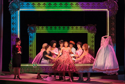 Jacqueline Echols as Giulietta with members of the ensemble in The Glimmerglass Festival's 2013 production of Verdi's King for a Day. Photo: Karli Cadel/The Glimmerglass Festival.