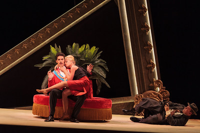 Alex Lawrence as Belfiore with Ginger Costa-Jackson as Marchesa  and ensemble member Adam Bielamowicz in The Glimmerglass Festival's 2013 production of Verdi's King for a Day. Photo: Karli Cadel/The Glimmerglass Festival.
