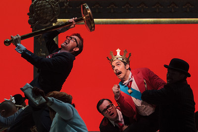 Jason Hardy as Baron Kelbar, Patrick O'Halloran as Edoardo and Alex Lawrence as Belfiore in The Glimmerglass Festival's 2013 production of Verdi's King for a Day. Photo: Karli Cadel/The Glimmerglass Festival.