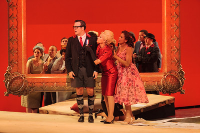 Patrick O'Halloran as Edoardo, Ginger Costa-Jackson as Marchesa and Jacqueline Echols as Giulietta in The Glimmerglass Festival's 2013 production of Verdi's King for a Day. Photo: Karli Cadel/The Glimmerglass Festival.