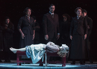 Clockwise from top left: Lisa Williamson, Christian Zaremba, Julia Mintzer and Victoria Munro in The Glimmerglass Festival's 2013 production of David Lang's the little match girl passion. Photo: Karli Cadel/The Glimmerglass Festival.