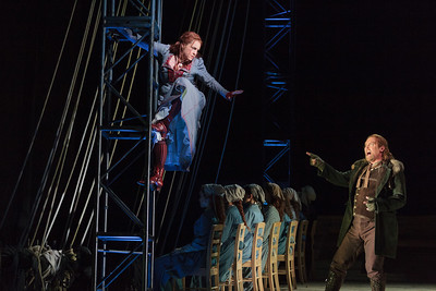 Melody Moore as Senta and Jay Hunter Morris as Erik in The Glimmerglass Festival's 2013 production of Wagner's The Flying Dutchman. Photo: Karli Cadel/The Glimmerglass Festival.