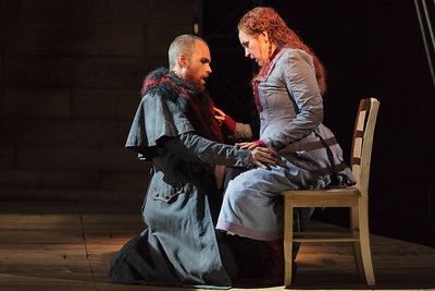 Ryan McKinny as the Dutchman and Melody Moore as Senta in The Glimmerglass Festival's 2013 production of Wagner's The Flying Dutchman. Photo: Karli Cadel/The Glimmerglass Festival.