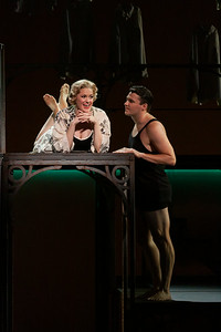 """Cynthia Cook as Sondra Finchley and Christian Bowers as Clyde Griffiths in The Glimmerglass Festival's new production of Tobias Picker's """"An American Tragedy."""" Photo: Jessica Kray/The Glimmerglass Festival."""