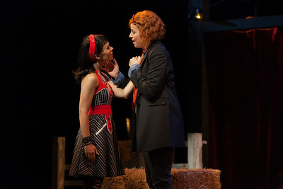 """Rachele Gilmore as Zerbinetta and Catherine Martin as Composer in The Glimmerglass Festival's 2014 production of Strauss' """"Ariadne in Naxos."""" Photo: Karli Cadel/The Glimmerglass Festival."""