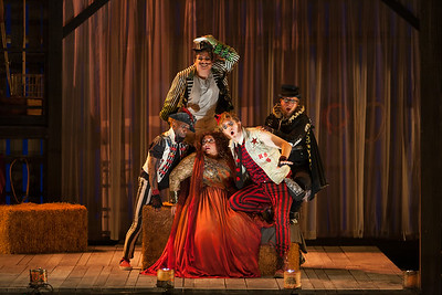 """Clockwise from top: Brian Ross Yeakley as Brighella, Andrew Penning as Scaramuccio, Gerard Michael D'Emilio as Truffaldino, Christine Goerke as Ariadne and Carlton Ford as Harlequiin in The Glimmerglass Festival's 2014 production of Strauss' """"Ariadne in Naxos."""" Photo: Karli Cadel/The Glimmerglass Festival."""