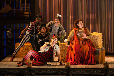 """Clockwise from top: Brian Ross Yeakley as Brighella, Christine Goerke as Ariadne, Gerard Michael D'Emilio as Truffaldino, Andrew Penning as Scaramuccio and Carlton Ford as Harlequin in The Glimmerglass Festival's 2014 production of Strauss' """"Ariadne in Naxos."""" Photo: Karli Cadel/The Glimmerglass Festival."""