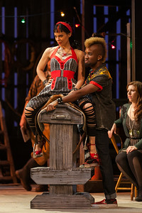 """Rachele Gilmore as Zerbinetta and Carlton Ford as Harlequin in The Glimmerglass Festival's 2014 production of Strauss' """"Ariadne in Naxos."""" Photo: Karli Cadel/The Glimmerglass Festival."""