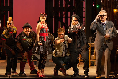"""L to R: Carlton Ford as Harlequin, Brian Ross Yeakley as Brighella, Rachele Gilmore as Zerbinetta, Gerard Michael D'Emilio as Truffaldino, Andrew Penning as Scaramuccio and Wynn Harmon as Manager of the Estate in The Glimmerglass Festival's 2014 production of Strauss' """"Ariadne in Naxos."""" Photo: Karli Cadel/The Glimmerglass Festival."""