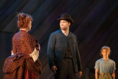 """L to R: Rebecca Finnegan as Mrs. Mullin, Ryan McKinny as Billy Bigelow and Sharin Apostolou as Carrie Pipperidge in The Glimmerglass Festival's 2014 production of Rodgers and Hammerstein's """"Carousel."""" Photo: Karli Cadel/The Glimmerglass Festival."""