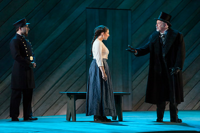 """L to R: Alex Domini as 1st Policeman, Andrea Carroll as Julie Jordan and Drew Taylor as David Bascombe in The Glimmerglass Festival's 2014 production of Rodgers and Hammerstein's """"Carousel."""" Photo: Karli Cadel/The Glimmerglass Festival."""