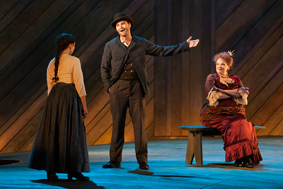 """L to R: Andrea Carroll as Julie Jordan, Ryan McKinny as Billy Bigelow and Rebecca Finnegan as Mrs. Mullin in The Glimmerglass Festival's 2014 production of Rodgers and Hammerstein's """"Carousel."""" Photo: Karli Cadel/The Glimmerglass Festival."""