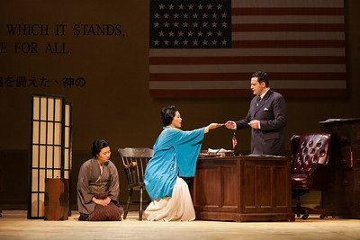 "Kristen Choi as Suzuki, Yunah Lee as Cio-CIo-San and Aleksey Bogdanov as Sharpless in The Glimmerglass Festival's 2014 production of ""Madame Butterfly."" Photo: Karli Cadel/The Glimmerglass Festival."