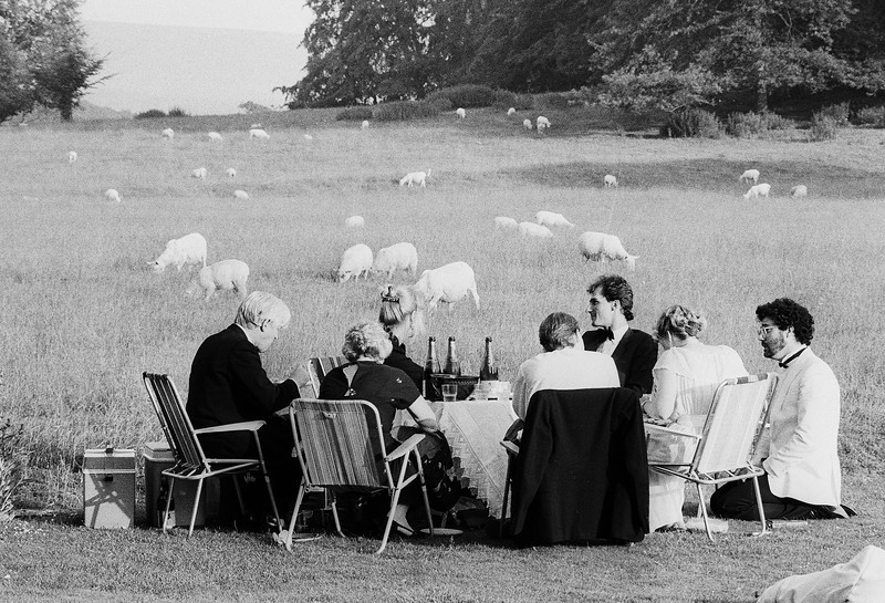 Members of the audience during the interval at Glyndebourne Opera, East Sussex, UK 1983