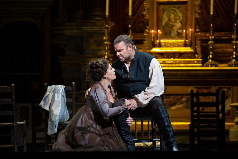 "Sondra Radvanovsky as Tosca and Joseph Calleja as Cavaradossi in Puccini's ""Tosca."" Photo: Marty Sohl / Met Opera"