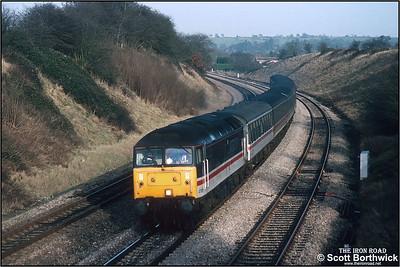 47815 passes Stoke Prior whilst working 1V54 1105 York-Swansea on 08/01/1993.