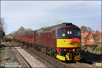 33029 top and tails D6515 (33012) approaching Port Sunlight whilst working 1Z87 1226 West Kirby-Southport, 'Ruby Vampire - The Second Bite' Branch Line Society railtour on 24/03/2019. This was the second attempt at running the tour, the previous attempt having derailed at Dee Marsh back in November 2018.