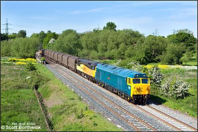 50007 'Hercules' + 56105 pass Lea Marston, with 47739 'Robin of Templecombe' on the rear, working 6E07 0859 Washwood Heath Metro Cammell-Boston Docks steel etys on 17/05/2014.