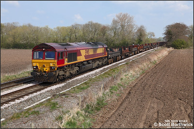 66181 passes East Goscote whilst working 6V92 1034 Corby BSC-Margam TC on 20/04/2021. (Camera mounted on a pole)
